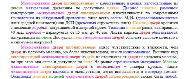 Пример переоптимизированного текста повышенной релевантности